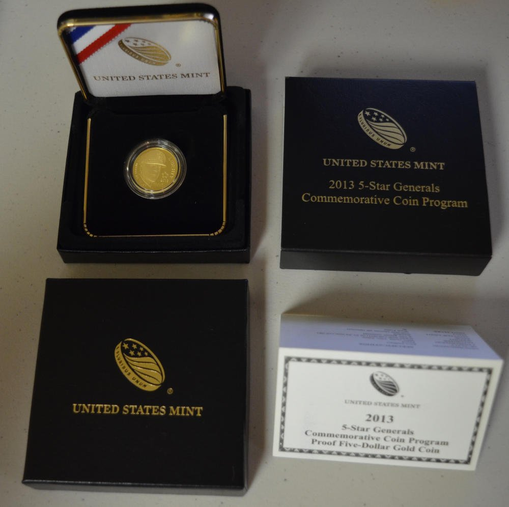 2013-P $1 5-Star Generals Commemorative Silver Dollar in OGP Proof