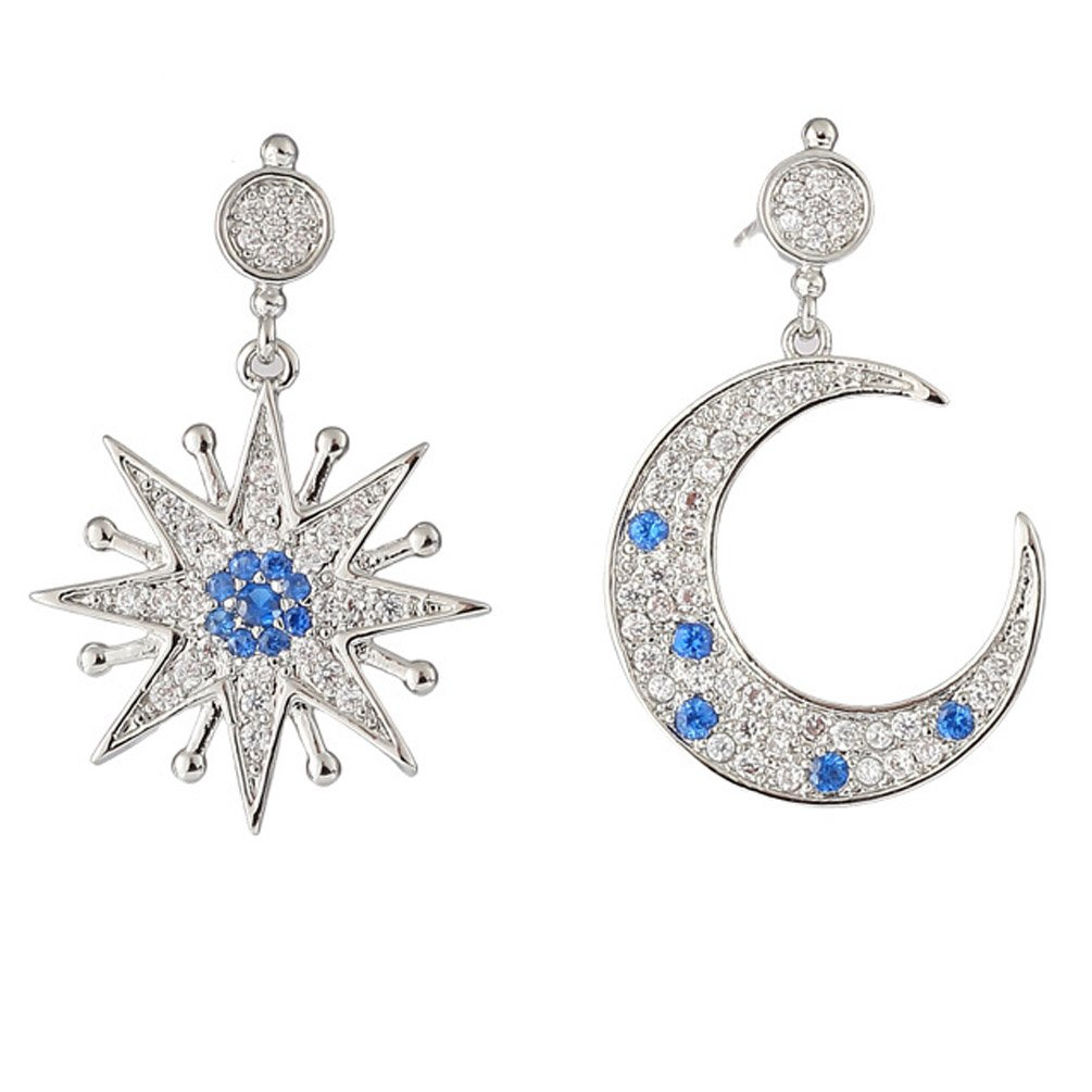Clip on Earring Backs with Pads Dangle Zirconia Crystal Star Moon for Women Girls Kids Jewelry Gift Box