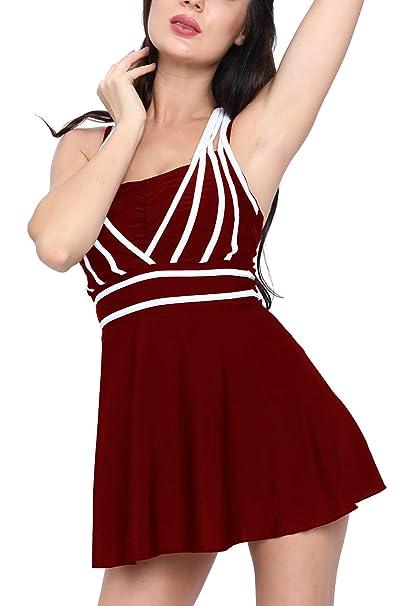 Plus Size Women Two Piece Slimming Swimdress Flared Swim Dress Halter  Swimwear Skirt Swimsuits Bathing Suit