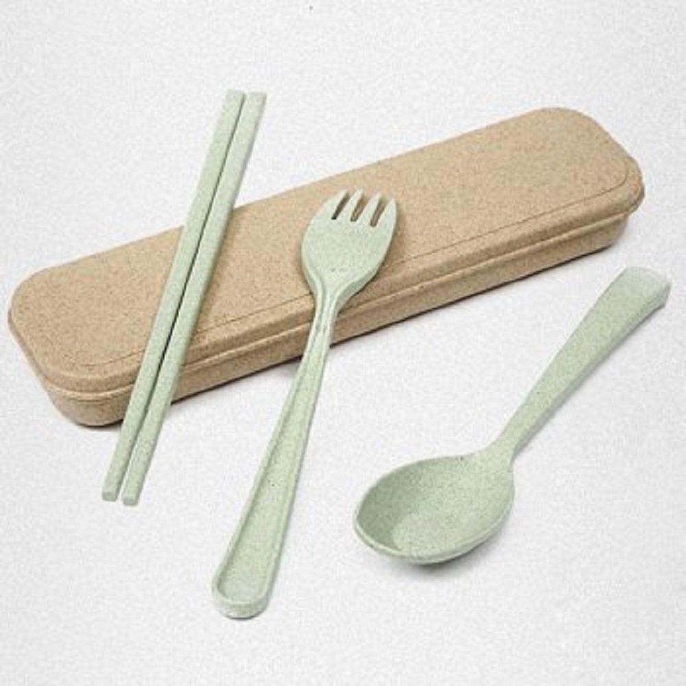 小麦Strawポータブル再利用可能な3個食器セット旅行Wheat Strawテーブルウェアカトラリーe2s Green グリーン  グリーン B0778XY3LW