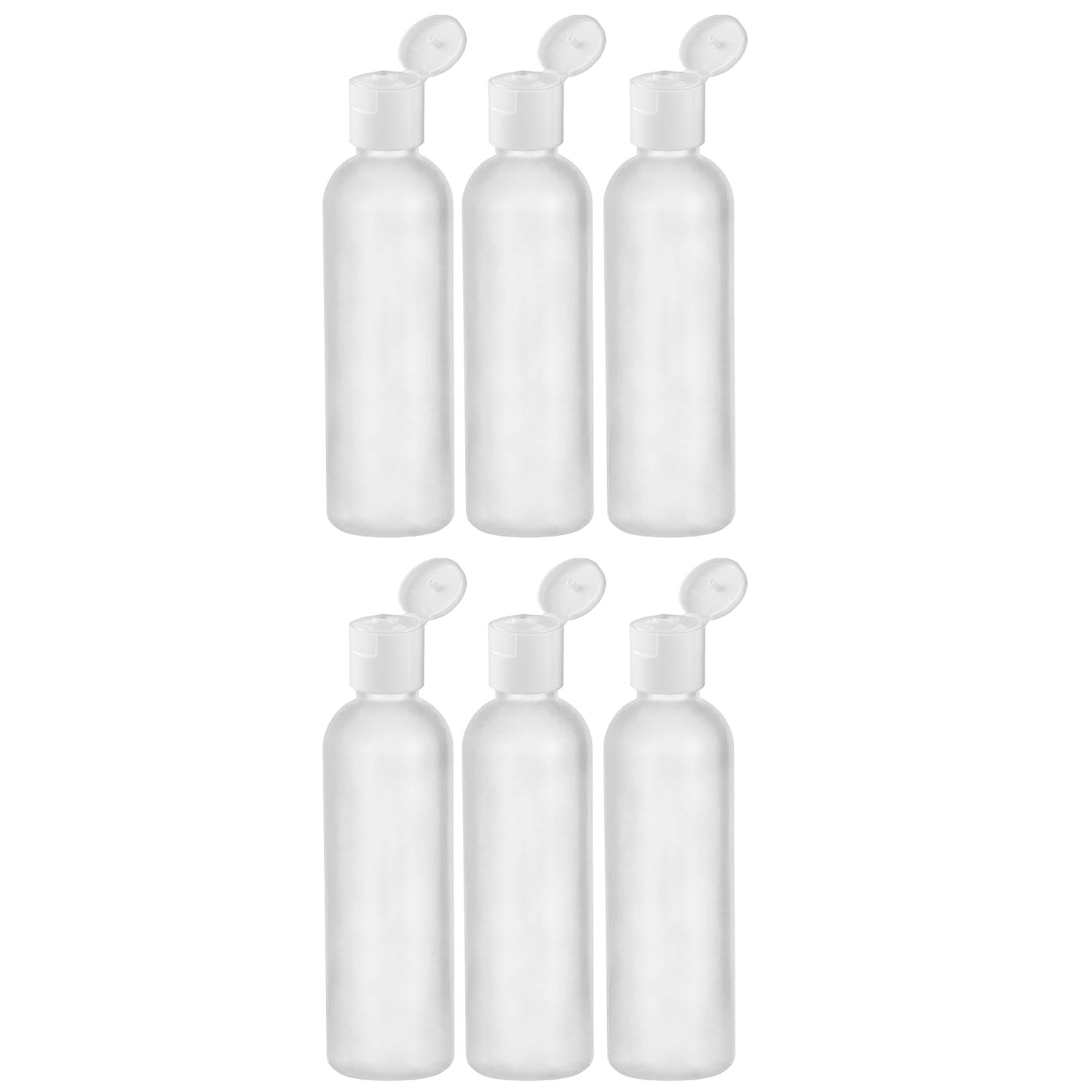 MoYo Natural Labs 2 oz Travel Bottle, TSA Approved Empty Travel Containers with Flip Caps, BPA Free HDPE Plastic Squeezable Toiletry/Cosmetic Bottles (6 Pack, Translucent White)