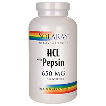 HCL w/ Pepsin 650mg 250 capsules by Solaray by Solaray: Amazon.es: Salud y cuidado personal