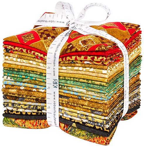 Gustav Klimt 22 Fat Quarter Bundle Plus Panel by Robert Kaufman Fabrics FQ-1538-23 ()