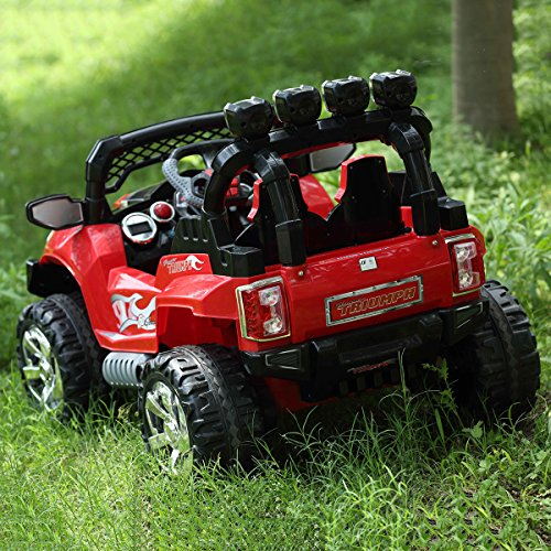 Costzon Ride On Truck, 12V Battery Powered Car, Parental Remote Control & Manual Modes Vehicle w/ Colorful LED Lights, MP3, Volume Control, Overload Protection for Kids (Red+Black) by Costzon (Image #2)
