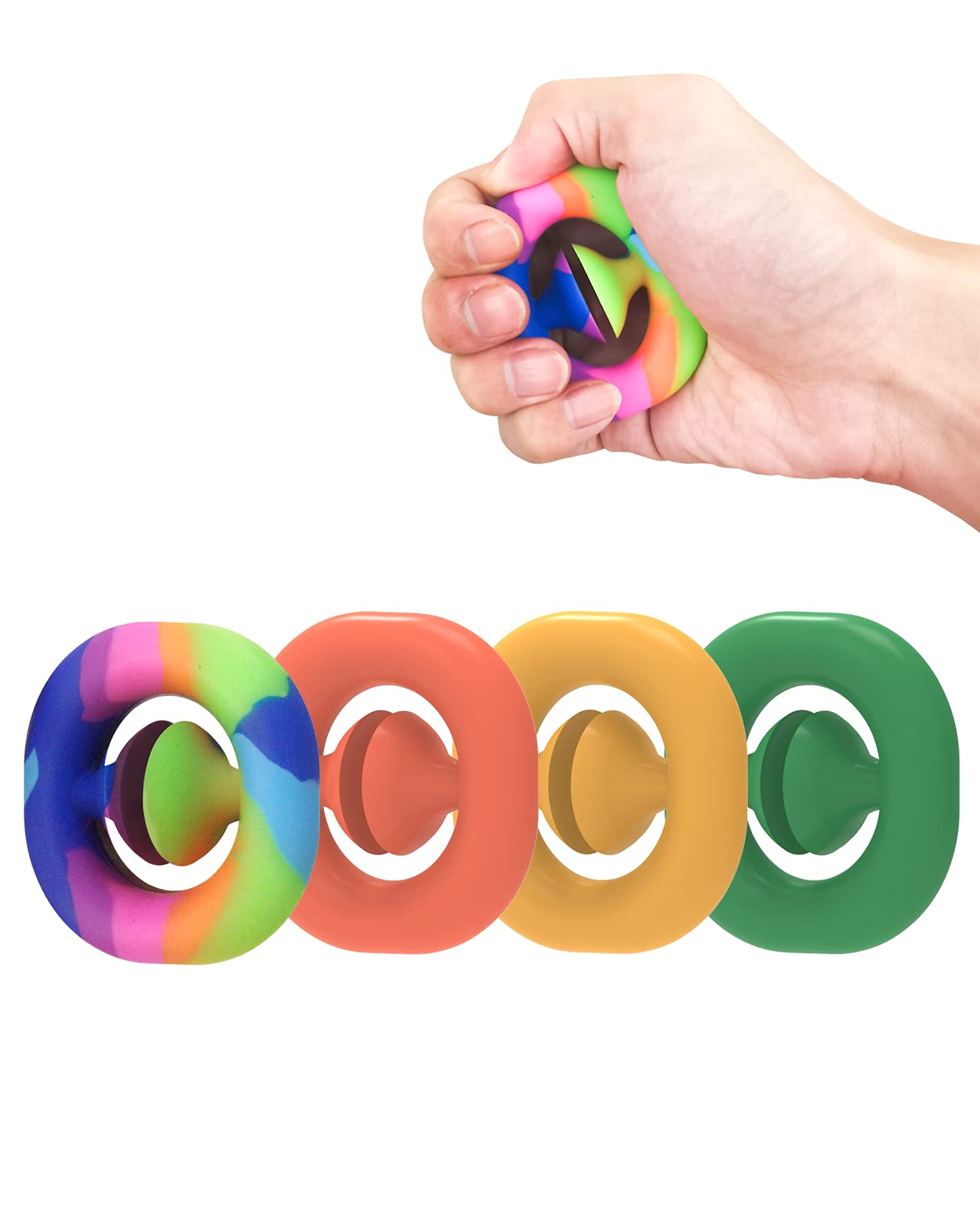 MOCOFLY 4 Pack Stress Relief Snapper Fidget Snap Toys Hand Grip Squeeze