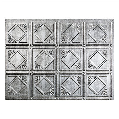 Fasade Easy Installation Traditional 4 Crosshatch Silver Backsplash Panel for Kitchen and Bathrooms (18