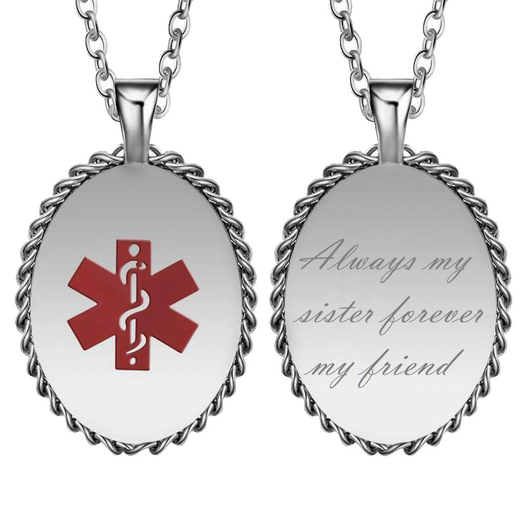 CliPons Medical Alert Womens Mens Necklace Inspirational Pendant Quote Always My Sister Forever My Friend