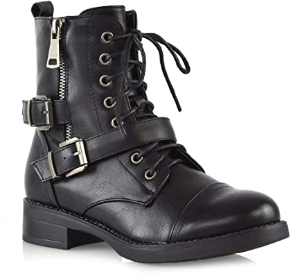 Womens Lace Up Combat Booties Ladies