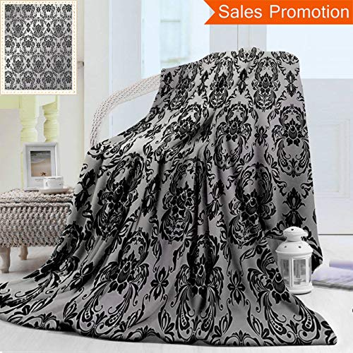 Unique Custom Warm 3D Print Flannel Blanket Grey Decor Collection Classic Baroque Style Ancient Detail Europian Elegant Motifs Wester Cozy Plush Supersoft Blankets for Couch Bed, Twin Size 60