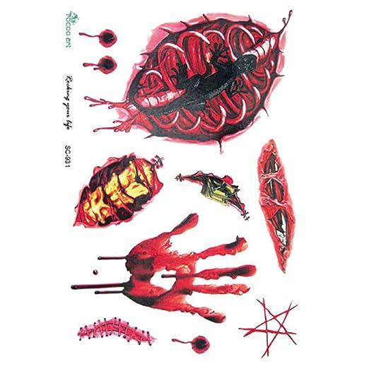 BHTWS 12 Estilos Halloween Cosplay Cicatrices Tatuajes con costra ...