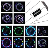 DAWAY LED Bike Spoke Lights - A12 Waterproof Cool Bicycle Wheel Light, Safety Tire Lights for Kids Adults, Very Bright, Auto & Manual Dual Switch, 30 Pattern, Include Battery, 2 Pack