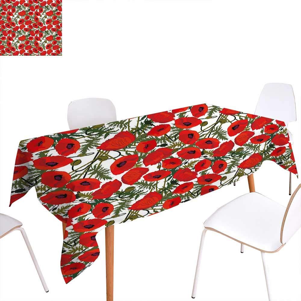 familytaste ポピー ダイニングテーブル 装飾 抽象 花びら 花びら 葉 クラシック レトロ 自然 テーブルカバー キッチン グリーン レッド ベージュ W60