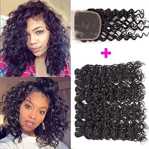 Brazilian Water Wave Bundles With Closure 8A Brazilian Virgin Human Hair Bundles With Closure Short Curly Hair Wet and Wavy Bundles With Closure Free Part (10 10 10 10 with 10 closure, 50g/piece)