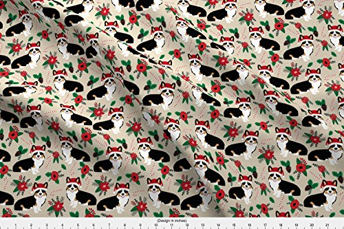 s Dog Fabric Poinsettia Dogs Fabric Cute Christmas Florals Best Christmas Flowers Santa Hats Cute Dogs by petfriendly - Printed on Basic Cotton Ultra Fabric by the Yard ()
