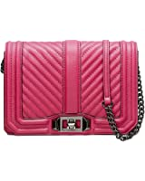 Rebecca Minkoff Neon Pink Leather Small Love Crossbody Bag