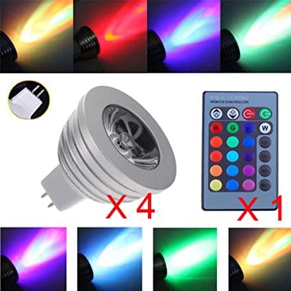 Bombillas led GU10 MR16, 4 W, 16 luces de colores cambiantes con 24 teclas