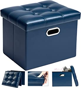 COSYLAND Storage Ottoman 17x13x13in Leather Ottoman Rectangle Footrest Footstool Folding Ottoman for Room Dorm Small Collapsible Bench Seat Organizer Entryway Furniture with Handles Lid Royal Blue