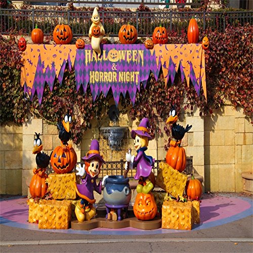 OFILA Halloween Backdrop 5x5ft Vinyl Photography Backdrop Horror Night Party Pumpkin Laterns Crow Costume Witch Children Baby Kids Photographic Photos Video Studio Props]()
