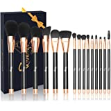 Qivange Makeup Brushes, Soft Cosmetic Powder Highlighter Brush Professional Makeup Brush Set with Gift Box(15 pcs, Black with Rose Gold)