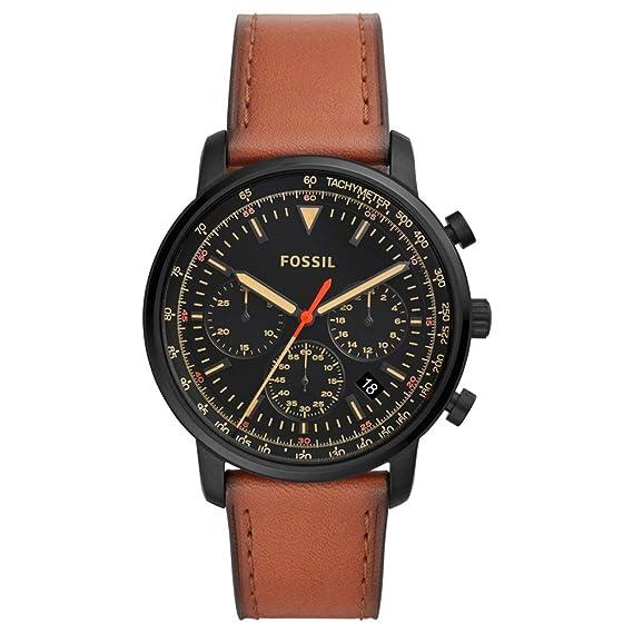 354247b36237 Fossil Reloj Cronógrafo para Hombre de Cuarzo con Correa en Cuero FS5501   Amazon.es  Relojes