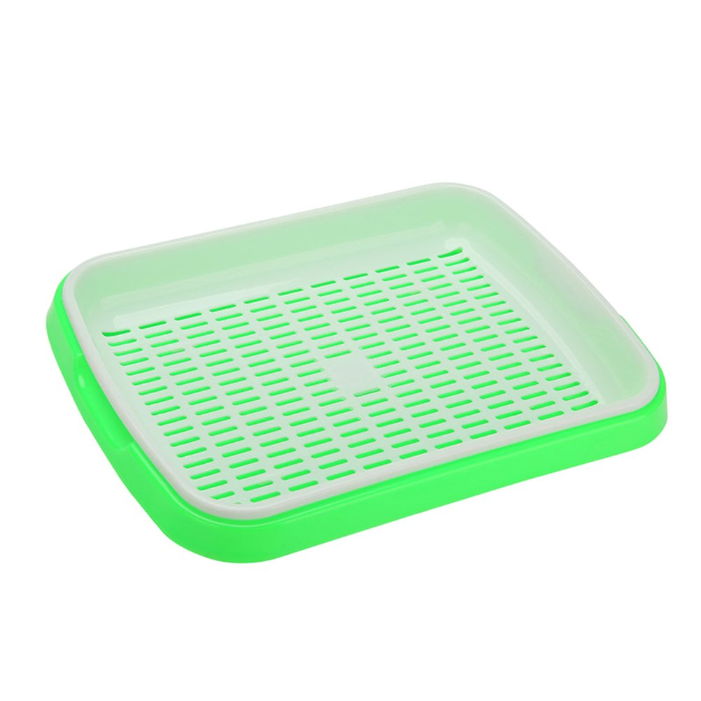 OUNONA Seed Sprouter Tray BPA Free PP Soil-Free Wheatgrass Grower Tray - 35x26x5cm(Green)