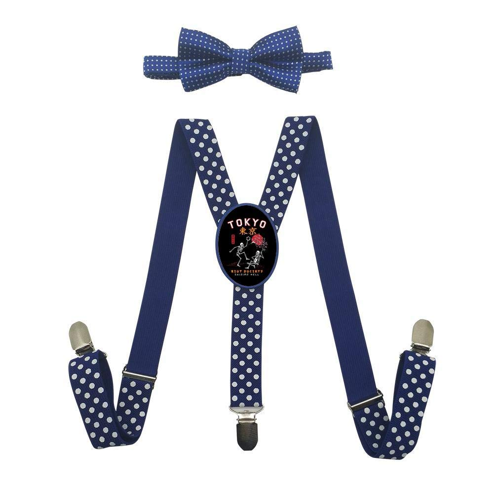 Grrry Unisxes Dancing Skeletons In Tokyo Adjustable Y-Back Suspenders /& Bowtie Set