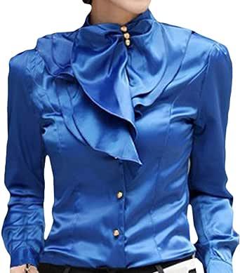 WEIMEITE Camisa Elegante para Mujer Camisa con Cuello En ...