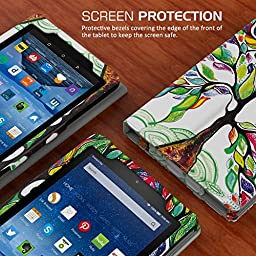 MoKo Case for Fire 7 2015 - Slim Folding Cover for Amazon Fire Tablet (7 inch Display - 5th Generation, 2015 Release Only), Lucky TREE