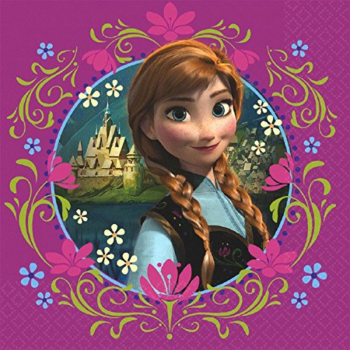 "Disney Frozen Luncheon Napkins Birthday Party Tableware Supply (16 Pack), Multi Color, 6.5"" x 6.5""."