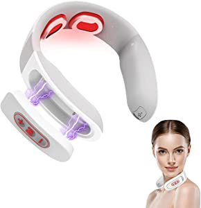 Neck Massager, Intelligent Portable Pulse Neck Massage with Heat Cordless, Infrared Neck Massager 6 Modes 10 Level Smart Deep Tissue Trigger Point Massage for Women Christmas Gifts Use at Home,Outdoor