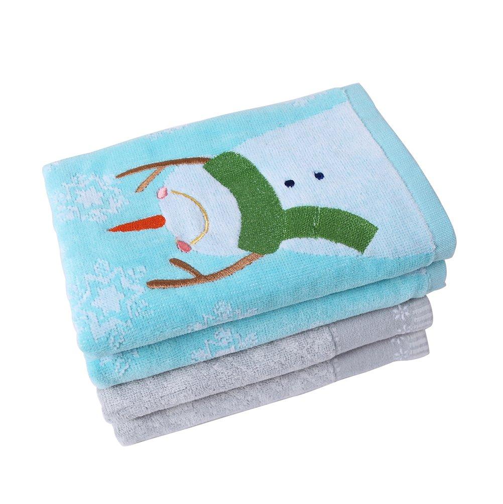 Christmas Winter Snowman Blue Towel