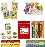 (US) Dinosaur Kid's Party Favor Bundle Pack 130 pc (12 Stamps, 12 Notepads, 12 Pencils, 100 pc roll stickers) by Multiple