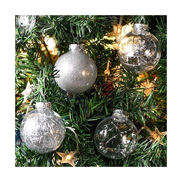 Joyjoz Decorazioni Albero di Natale Palline di Plastica, 6 cm di Diametro Palla di Natale Lucido riempita con Decorazioni Natalizi Raffinati Set 24 Pezzi 7 spesavip