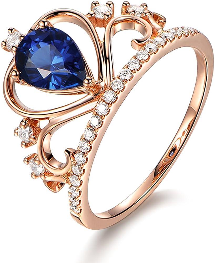 Vendimia Antiguo Naturales Pera Zafiro Piedra preciosa Boda Compromiso Diamante para Moda Mujer Anillo Sólido 14K Oro rosa para Mujer
