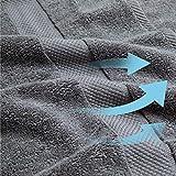Bedsure Bath Towels Sets for Bathroom Grey - Combed