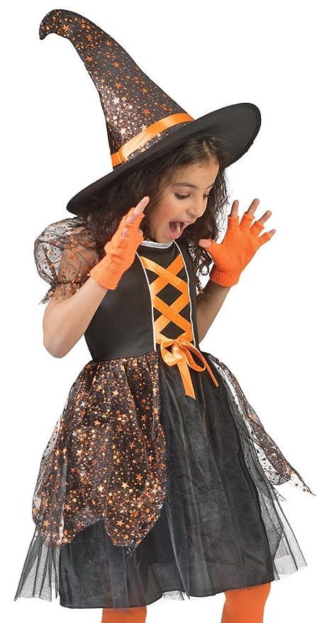 Funny Fashion Costume da Strega Glenda per Bambini per Ragazze - Vestito  Nero e Cappello da f122e1266b69