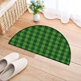 NALAHOMEQQ Flowers Semicircle Carpet Green grass soccer field background Thickening Mats(31.5x19.7 INCH)