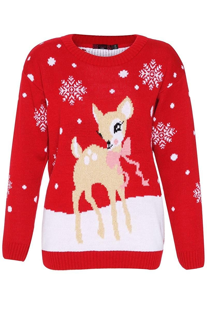 Girl Talk Clothing Childrens Deer Christmas Knitted Jumper KNT3272