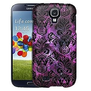 Samsung Galaxy S4 Case, Slim Fit Snap On Cover by Trek Damasks Floral Black on Nebula Case