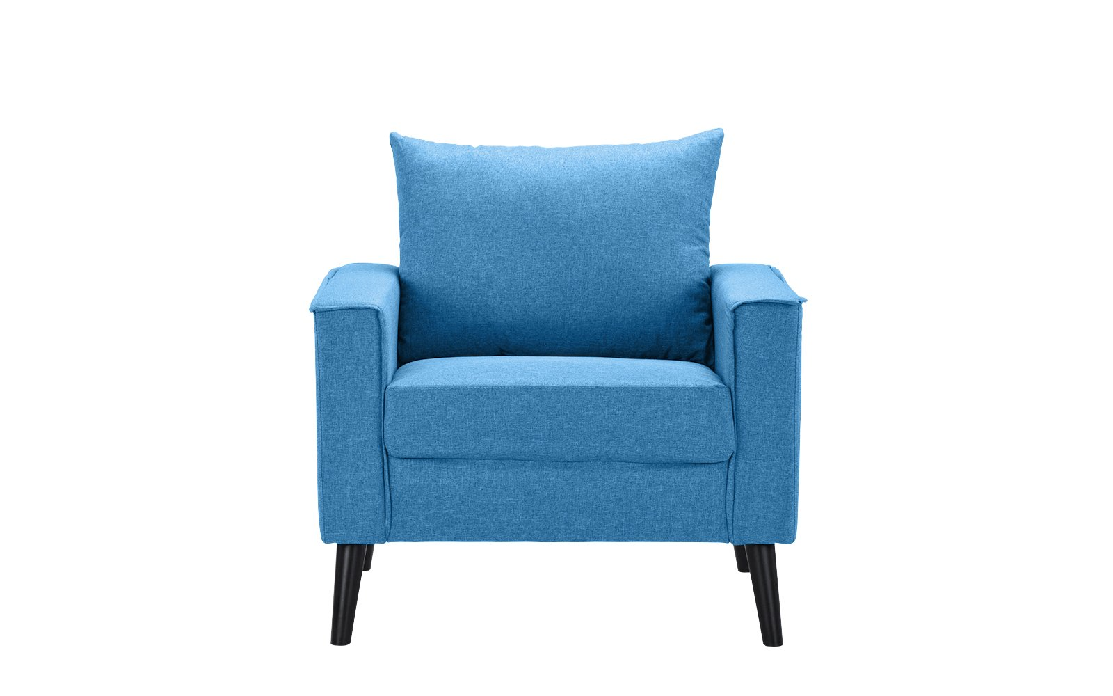 Mid-Century Modern Linen Fabric Armchair Living Room Accent Chair (Sky Blue) - Mid century modern linen fabric wide armchair, perfect as an accent living room piece or a reading nook Features hand picked linen fabric upholstery and tall dark wooden legs with comfortable back and seat cushion Stitching around the frame is exposed giving this furniture piece a touch of modernism - living-room-furniture, living-room, accent-chairs - 619sVx8fEsL -
