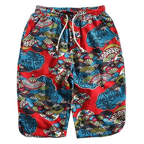♞Deadness-Mens Men's Cool Swimtrunks Print Casual Hawaiian Beach Board Shorts Summer Workout Shorts Red