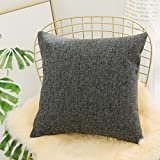 euro sham cover - Home Brilliant Throw Pillow Cover Euro Sham Decorative Linen Chenille Blend Textured Dark Grey Cushion Cover for Bed, 26 x 26 inches(66cm), Charcoal