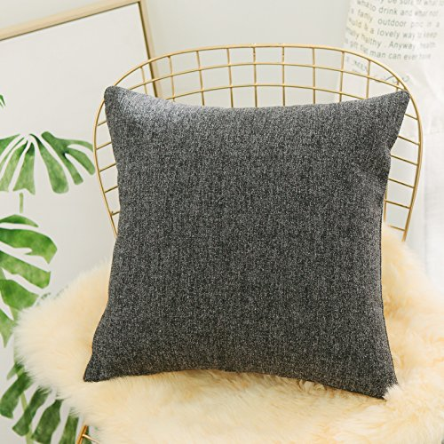 Home Brilliant Throw Pillow Cover Euro Sham Decorative Linen Chenille Blend Textured Dark Grey Cushion Cover for Bed, 26 x 26 inches(66cm), Charcoal (Chenille Sham)