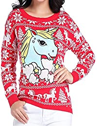 Ugly Christmas Sweater, Women Girl Junior Unicorn Clothes...