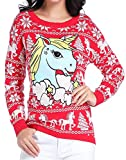 v28 Ugly Christmas Sweater, Women Girl Junior Unicorn Clothes Jumper Red Sweater (Medium, Cute Unicorn)