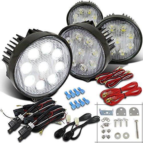 (Spec-D Tuning LF-4009RNDX4 Fog Light (Round Off Road Hyper White Bumper Lamp Wiring Kit))