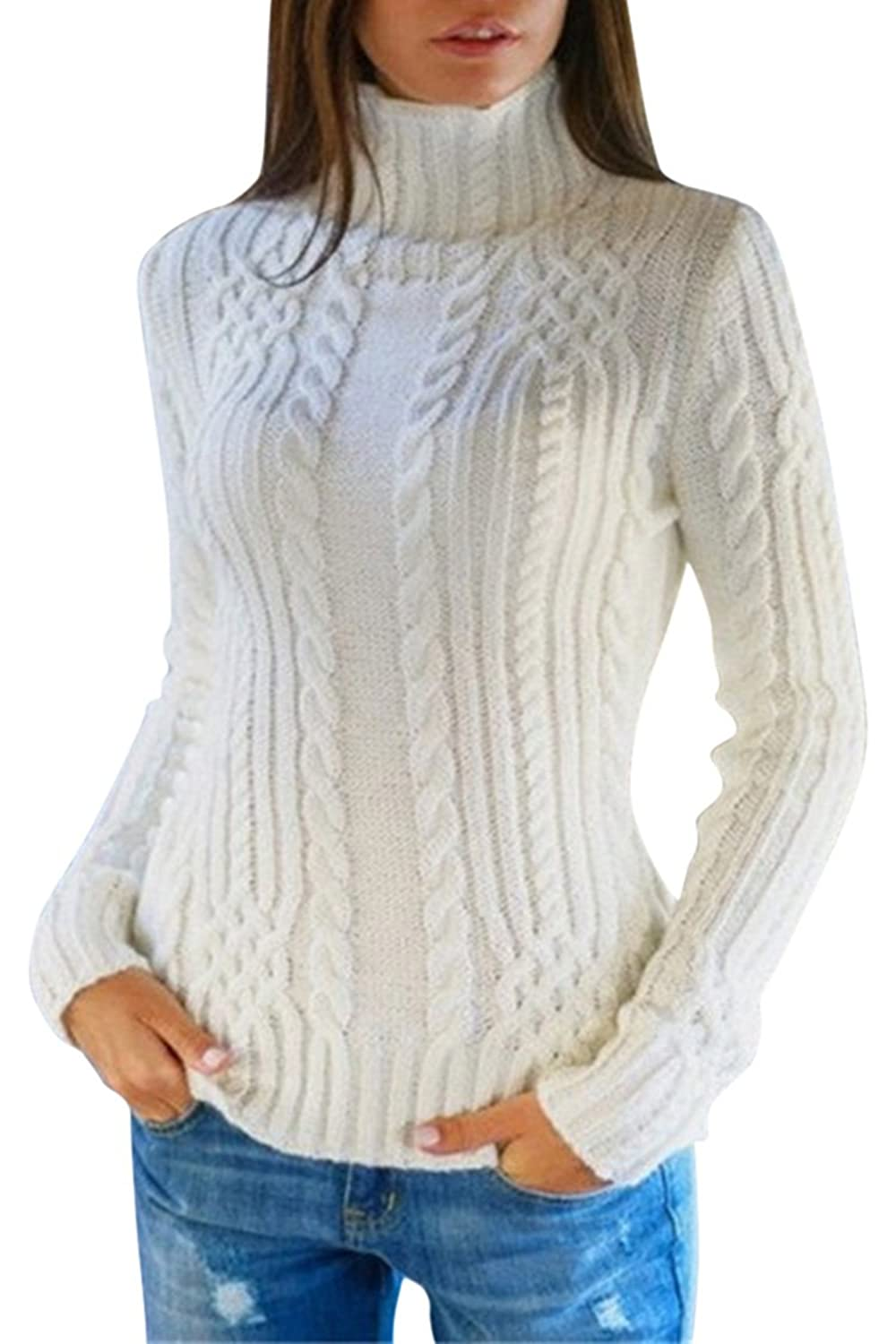 Pink Queen Buy One Get One Women's Cable Knit Crewneck Casual Pullover Sweater