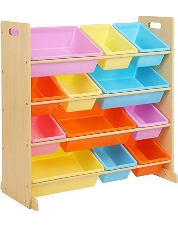 SONGMICS Estantería de Juguetes con 12 Cubos de Plástico Extraíbles, Organizador Infantil, para la