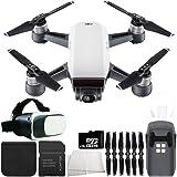 DJI Spark Portable Mini Drone Quadcopter Virtual Reality Experience VR Starters Bundle (Alpine White)