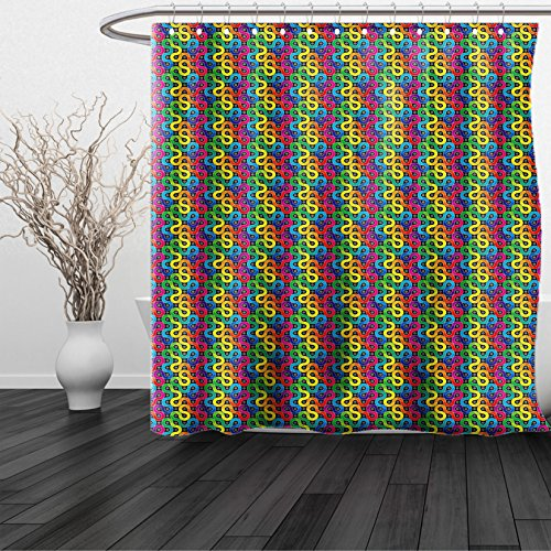 Lulu Sheer Panel (HAIXIA Shower Curtain Abstract Rainbow Colored Twisted Lines Around Dots Surreal Expressionist Illustration Print)